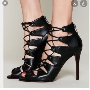 Schutz Slate Lace Up Booties in Black Leather